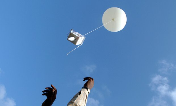 Indian meteorologists release a balloon in order to track monsoons. Photograph: Adeel Halim/Reuters. Source: httpswww.theguardian.com/news/2015/dec/20/you-still-cant-beat-radiosonde